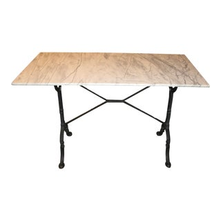 Vintage Marble Top Iron Based Table For Sale