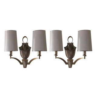 Waldorf Astoria Modern Cast Brass Sconces With White Metal Shades - a Pair For Sale