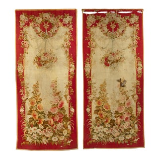 French Victorian Red Aubusson Wall Hangings - a Pair For Sale