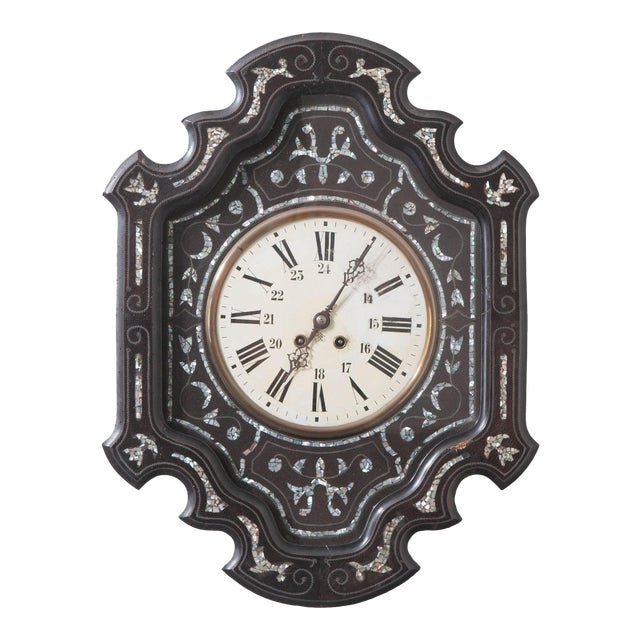 French 19th Century Napoleon III Ebony Wall Clock For Sale