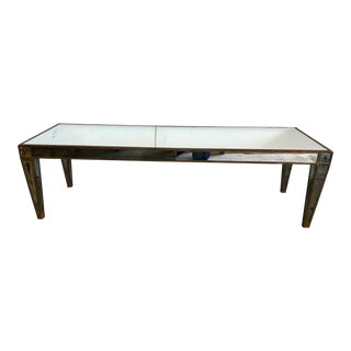 Neoclassical Style Rectangular Mirrored Coffee Table For Sale