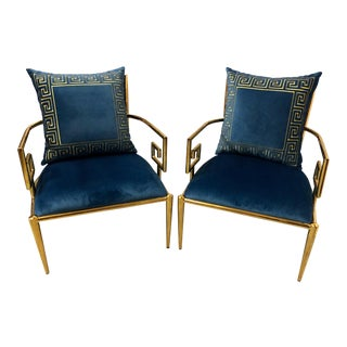Hollywood Regency Style Greek Key Arm Chairs - A Pair