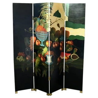 Chinese Black Lacquered Screen With Roesen School Still Life Painting For Sale