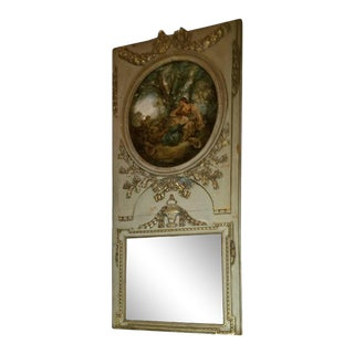 French Trumeau Green and Gold Mirror with Painted Scene of Ladies, 19th Century For Sale