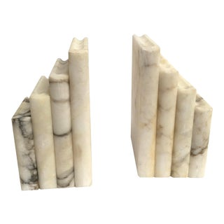 Vintage White Alabaster Book Shaped Bookends - a Pair For Sale