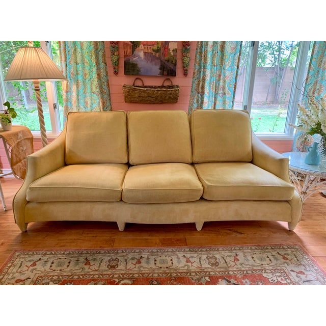 Donghia sofa - a John Hutton Design, Ogee style. Creamy yellow chenille fabric . This very comfy, down-filled sofa has...