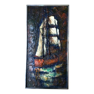 1960s Figurative Painting of Impasto Sailing Ship For Sale