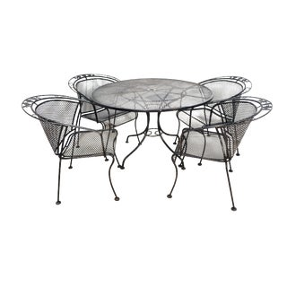 Mid Century Wrought Iron Patio Set in the Style of Russell Woodard For Sale