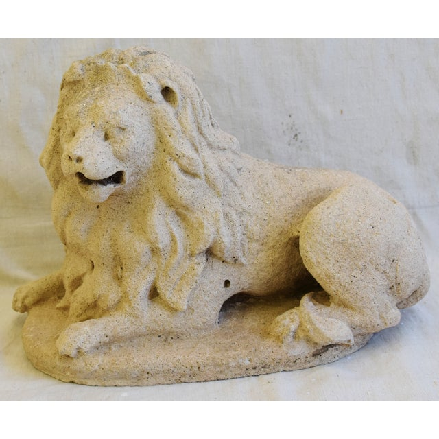 Antique French sandstone lion statue figure. No maker's mark. Some wear consistent with age and use.