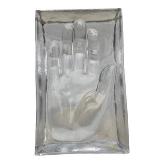 Mid 20th Century Claus Josef Riedel Glass Hand-Form Sculpture For Sale