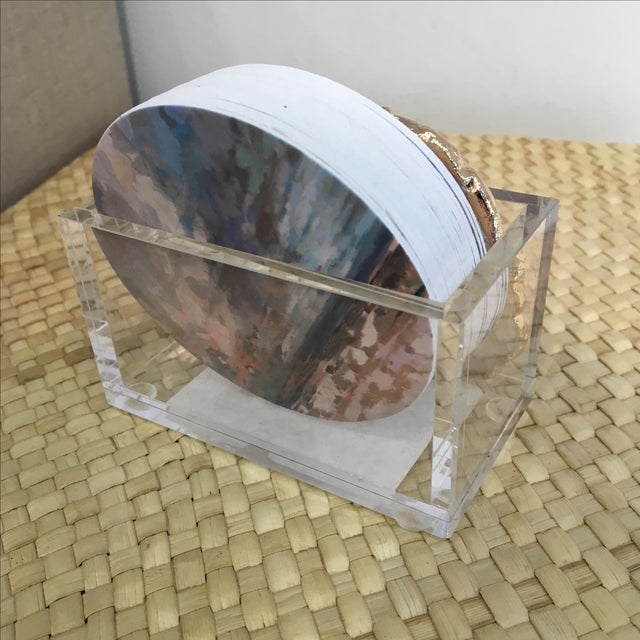 Lucite and Agate Business Card Holder - Image 6 of 10