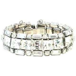 Mid-20th Century Weiss Silver & Austrian Crystal Link Bracelet For Sale