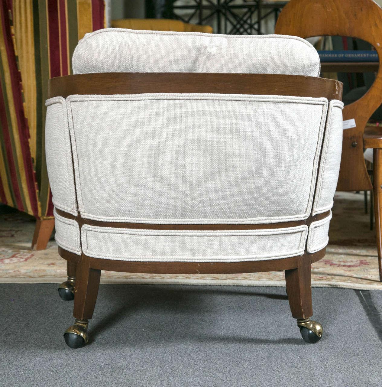 Marvelous Mid Century Club Chairs On Casters   A Pair   Image 8 Of 10