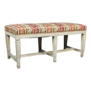 Early 19th Century Swedish Neoclassical White Painted Bench For Sale