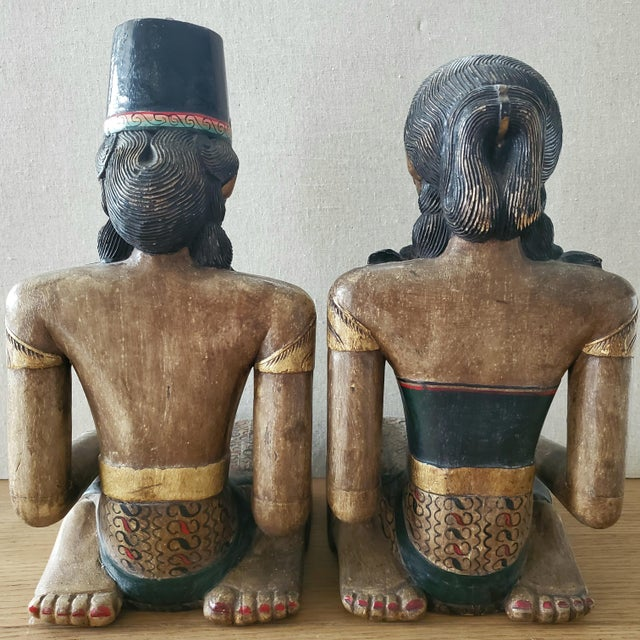 Tribal Indonesian Carved Wood Statues, a Pair For Sale - Image 3 of 9