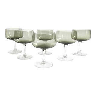 Vintage Fostoria Gray Coupe Wine Glasses / Set of 6 For Sale