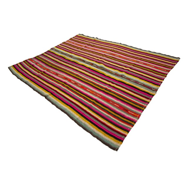 1960s Vintage Colorful Striped Decorative Kilim Rug- 6′ × 7′2″ For Sale - Image 4 of 7
