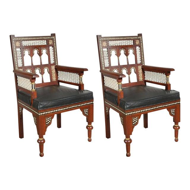 Pair of Moroccan Moorish Armchairs For Sale