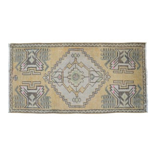 Distressed Low Pile Turkish Yastik Petite Pink Rug Hand Knotted Faded Mat - 20'' X 358'' For Sale