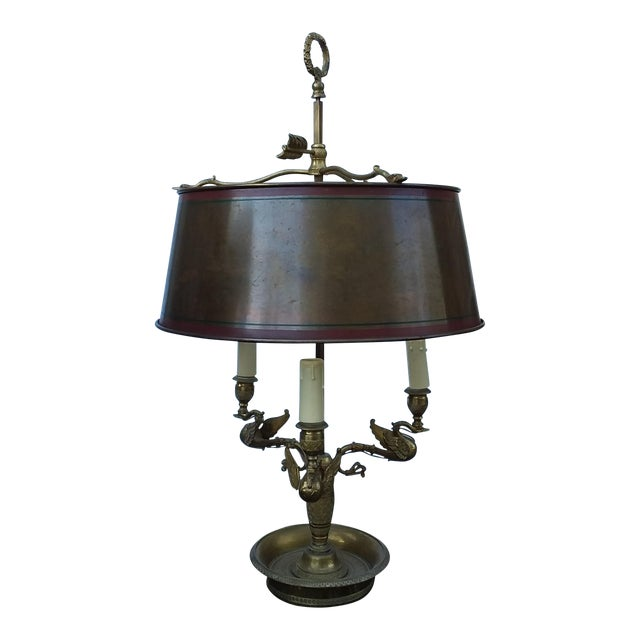 Antique French Bouillotte Lamp With Swan Heads For Sale