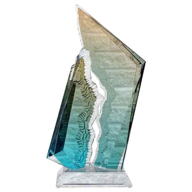 Plastic Contemporary Modern Lucite Acrylic Reaction Sculpture Blue Orange by Haziza For Sale - Image 7 of 7