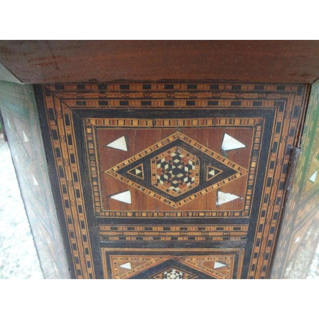 Antique Middle Eastern Arabesque Style Mother of Pearl Inlaid Table For Sale In Houston - Image 6 of 13