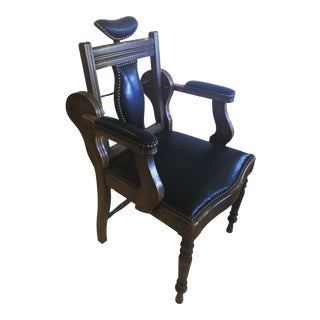 Antique Leather and Mahogany Dental Armchair For Sale
