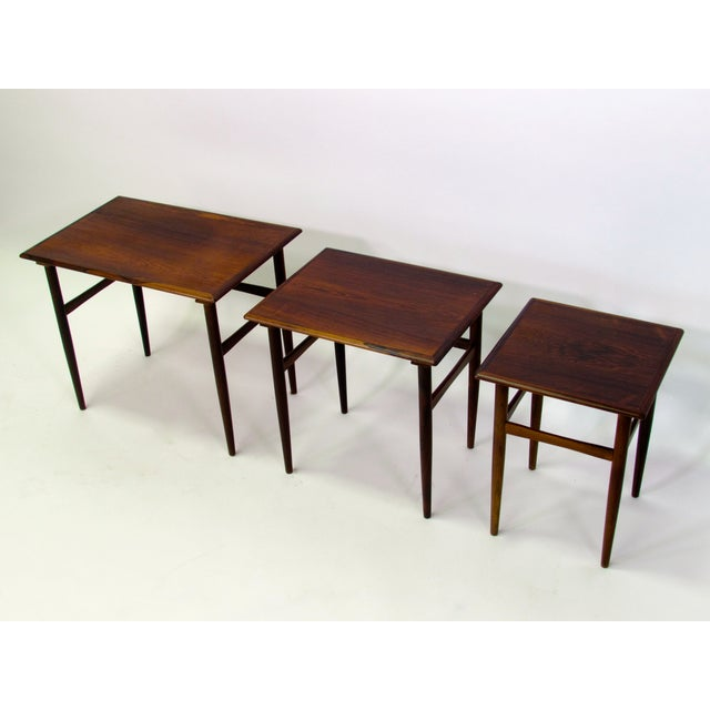 Danish Mid-Century Modern Rosewood Nesting Tables - Image 4 of 4