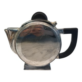 1920s Art Deco Metal Round Tea Pot