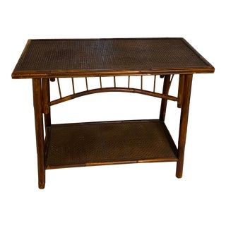 Bamboo & Rattan Side Table For Sale
