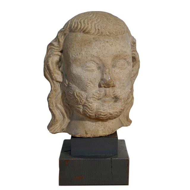 Vintage Medieval Limestone Bust For Sale - Image 10 of 10