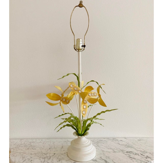 Regency Italian Tole Floral Table Lamp For Sale - Image 12 of 12