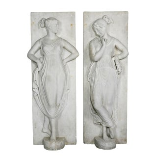 Italian White Marble Bas Reliefs of Muses - a Pair For Sale
