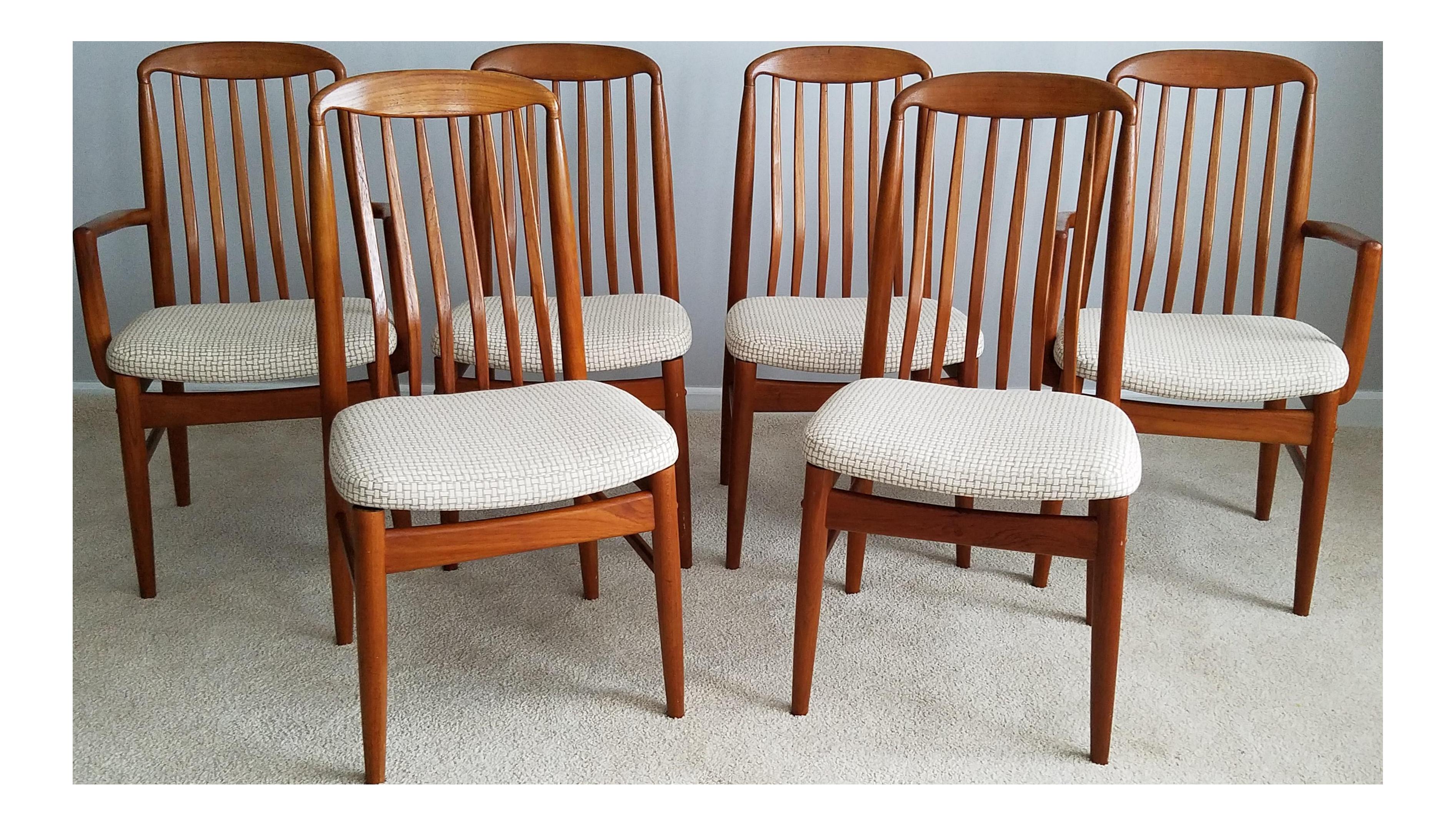 Benny Linden Teak Dining Chairs Set Of 6 Chairish