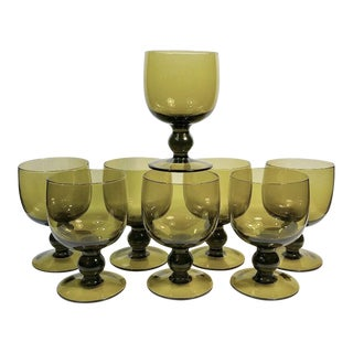 1960s Mid-Century Modern Olive Green Glass Stemware Set of 8 For Sale
