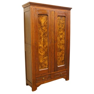 1920's Vintage Burled Wood Door Panels Wardrobe / Armoire For Sale