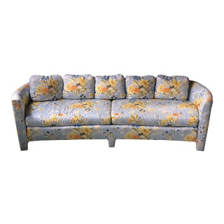 Vintage Mid-Century Floral Curved Upholstered Sofa