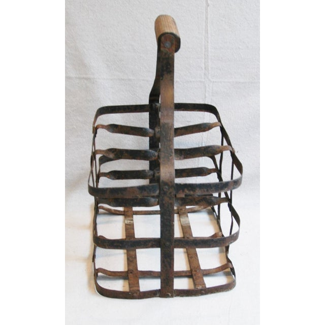 1930s French Metal 6 Bottle Wine Carrier For Sale - Image 4 of 8