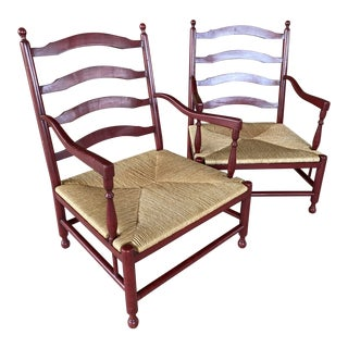 Rustic Red Farmhouse Ladder Back Rush Seat Lounge Chairs - a Pair For Sale