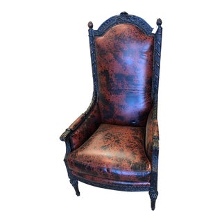 Modern Acid Washed Leather Chair For Sale