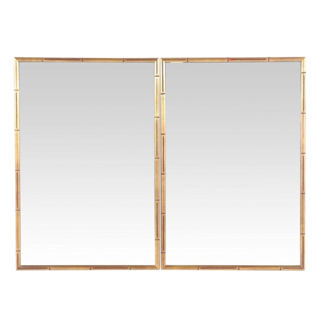 Large Giltwood Faux Bamboo Wall Mirrors - a Pair For Sale