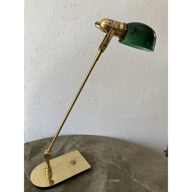 Mid Century Solid Brass Pharmacy Desk Lamp For Sale - Image 9 of 9