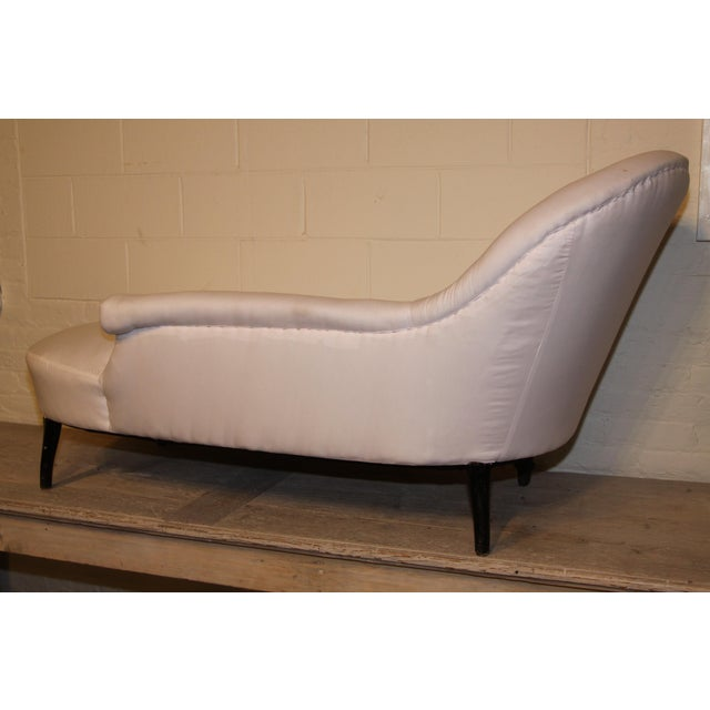 French Napoleon III chaise lounge, circa 1870. This piece is quite unique in that one arm is long than the other...perfect...