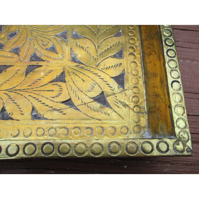 Antique Ornate Hammered Brass Wood Serving Tray - Image 7 of 11