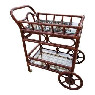 Rattan Bamboo Bar Cart For Sale