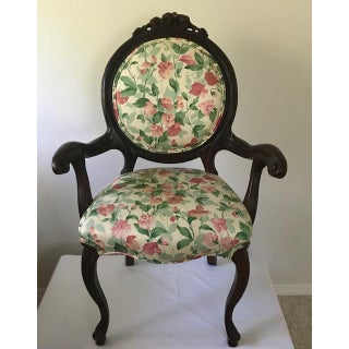 Antique Victorian Floral/Wood Chair Preview