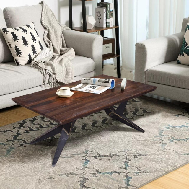 Faunia Coffee Table With Iron Legs, Living Room, Wooden Top, Rustic Natural  Finish, Wood and Metal, Home Furniture- Natural