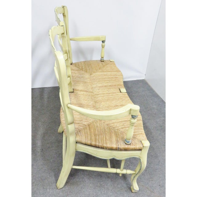 Country French Yellow Painted Rush Seat Settee For Sale - Image 4 of 7