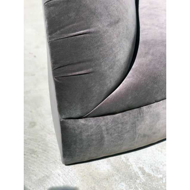1980s 1980s Mid Century Modern Vladimir Kagan Grey Kidney Serpentine Curved Sectional Sofa For Sale - Image 5 of 6