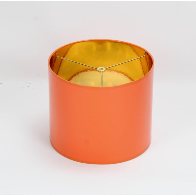 Orange Orange High Gloss Drum Lamp Shade With Gold Lining For Sale - Image 8 of 8